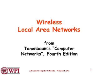 """Wireless Local Area Networks from Tanenbaum's """"Computer Networks"""", Fourth Edition"""