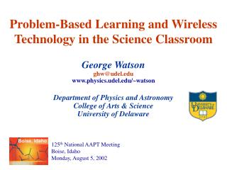 Problem-Based Learning and Wireless Technology in the Science Classroom