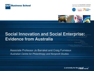 Social Innovation and Social Enterprise: Evidence from Australia