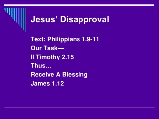 Jesus' Disapproval