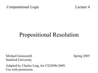 Propositional Resolution