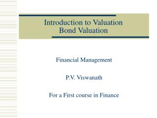 Introduction to Valuation Bond Valuation