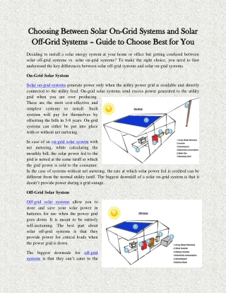 Choosing Between Solar On-Grid Systems and Solar Off-Grid Systems – Guide to Choose Best for You