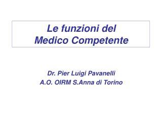 Le funzioni del  Medico Competente