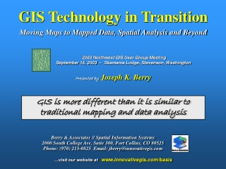 GIS Technology in Transition Moving Maps to Mapped Data, Spatial Analysis and Beyond