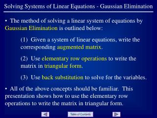 Solving Systems of Linear Equations - Gaussian Elimination