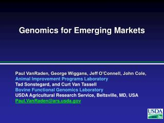 Genomics for Emerging Markets