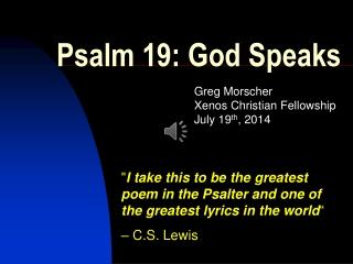 Psalm 19: God Speaks