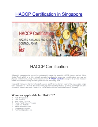 HACCP Certification in Singapore | HACCP Certification for Food Safety