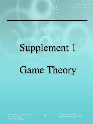 Supplement 1 Game Theory