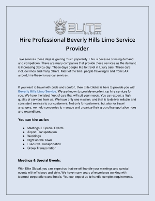 Hire Professional Beverly Hills Limo Service Provider