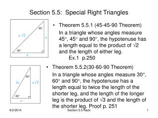 Section 5.5:  Special Right Triangles