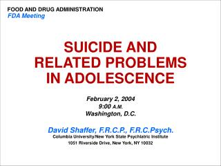 SUICIDE AND  RELATED PROBLEMS  IN ADOLESCENCE