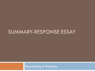 Summary  Response Essay