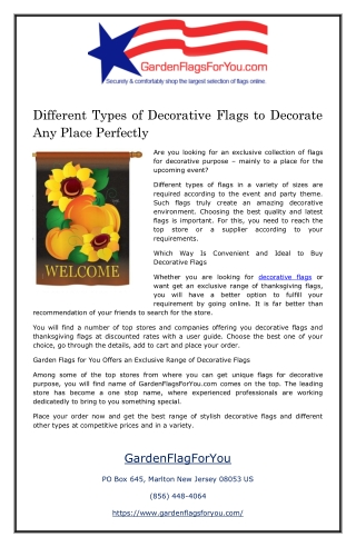 Different Types of Decorative Flags to Decorate Any Place Perfectly