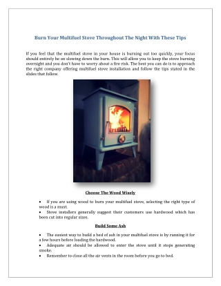 Burn Your Multifuel Stove Throughout The Night With These Tips