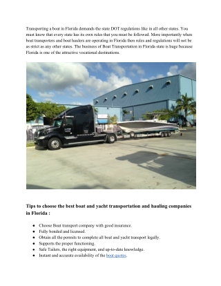 Tips To Choose Florida Boat and Yacht Transport Companies