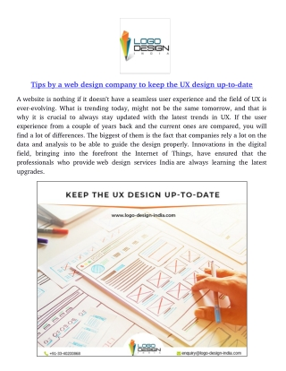 Tips by a web design company to keep the UX design up-to-date
