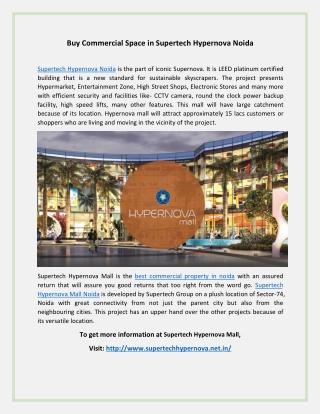 Supertech Hypernova Mall Noida