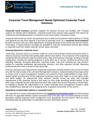 Corporate Travel Management Needs Optimized Corporate Travel Solutions