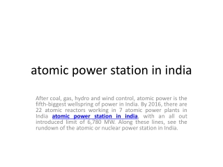 atomic power station in india