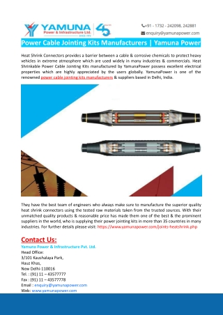Power Cable Jointing Kits Manufacturers