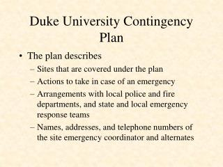 Duke University Contingency Plan