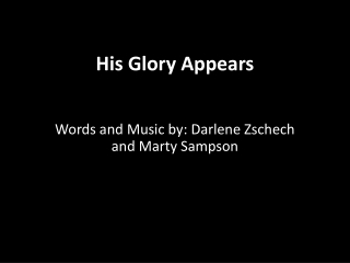 His Glory Appears