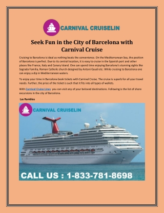Carnival Cruise Official Site - Seek Fun in the City of Barcelona with Carnival Cruise
