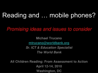 Reading and … mobile phones? Promising ideas and issues to consider