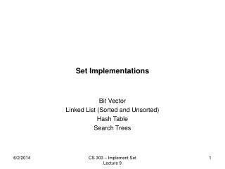 Set Implementations