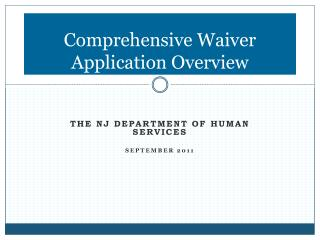 Comprehensive Waiver Application Overview