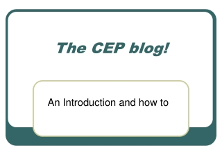 The CEP blog!