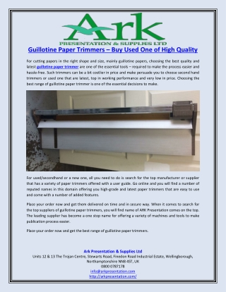 Guillotine Paper Trimmers – Buy Used One of High Quality