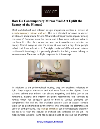 Contemporary Mirror Wall Art