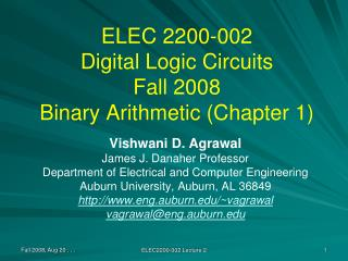 ELEC 2200-002 Digital Logic Circuits Fall 2008 Binary Arithmetic Chapter 1