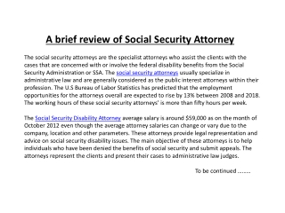 A brief review of Social Security Attorney