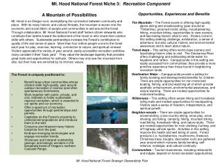 Mt. Hood National Forest Niche 3:   Recreation Component