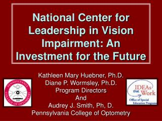 National Center for Leadership in Vision Impairment: An Investment for the Future