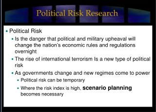 Political Risk Research