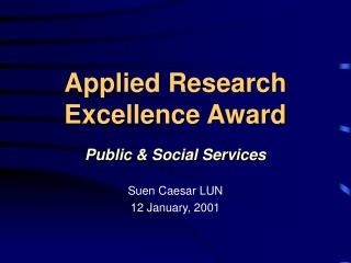Applied Research  Excellence Award