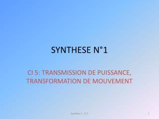 SYNTHESE N°1