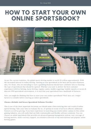 How To Start Your Own Online Sportsbook?