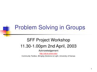 Problem Solving in Groups