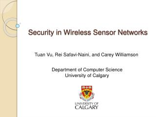 Security in Wireless Sensor Networks