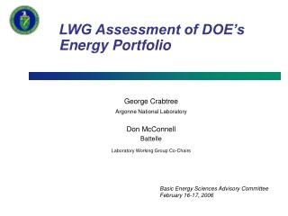 LWG Assessment of DOE's Energy Portfolio