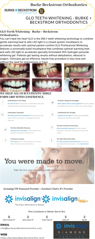 GLO Teeth Whitening - Burke Beckstrom Orthodontics