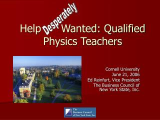 Help Wanted: Qualified Physics Teachers
