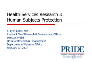 Health Services Research &  Human Subjects Protection