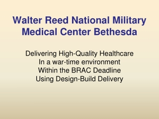 National Naval Medical Center: Integrated Medical Home